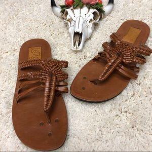 Latigo Shoes - Latigo Anthropologie Brown Leather Braided Sandal